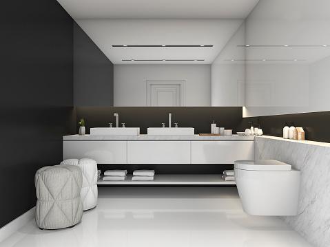 3d rendering black minimal modern style bathroom stock