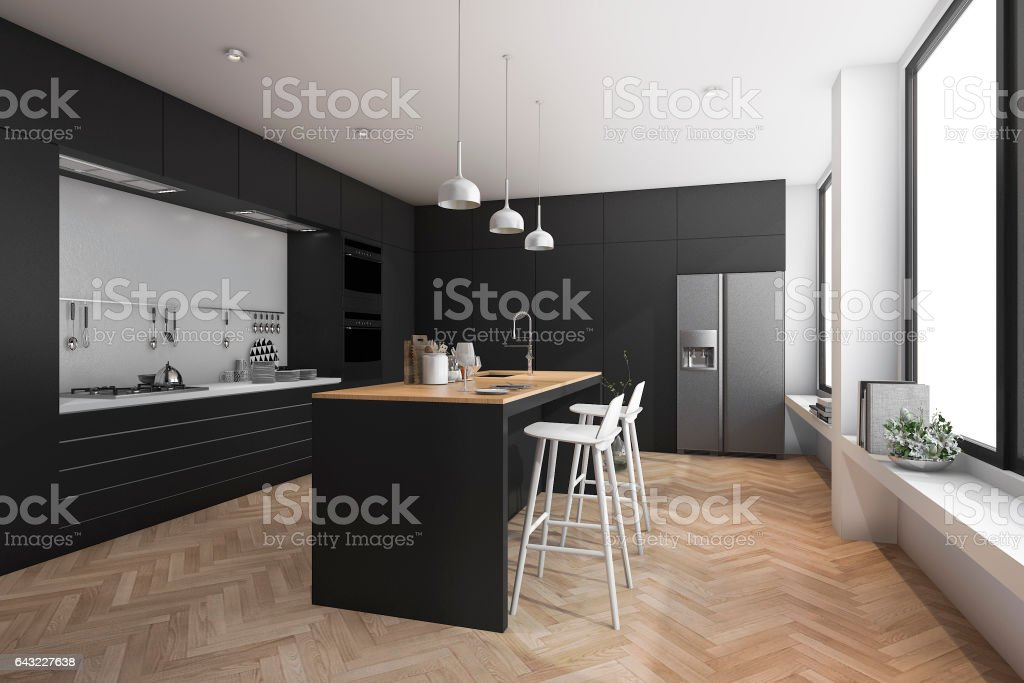 3d Rendering Black Modern Dining Bar In Kitchen Royalty Free Stock Photo