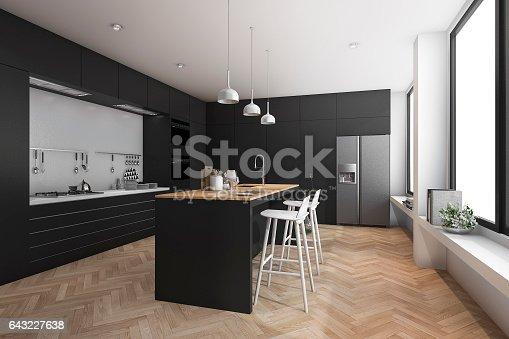 istock 3d rendering black modern dining bar in kitchen 643227638