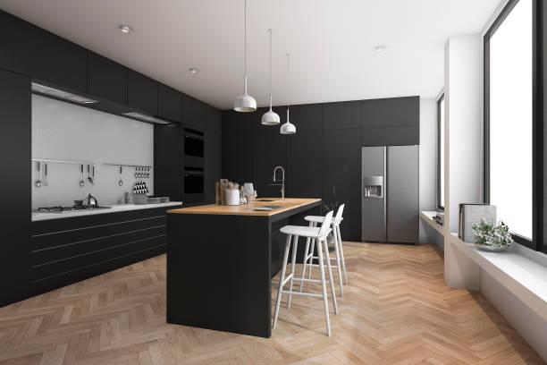 3d rendering black modern dining bar in kitchen stock photo