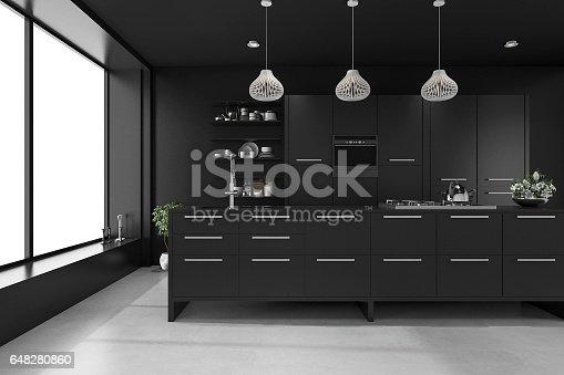 istock 3d rendering black modern luxury kitchen 648280860