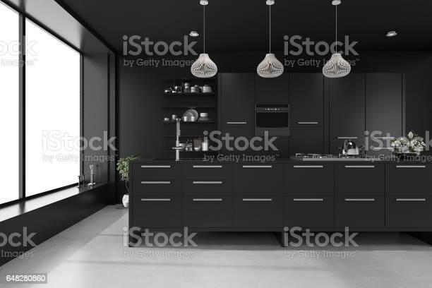 3d rendering black modern luxury kitchen picture id648280860?b=1&k=6&m=648280860&s=612x612&h=cjaylpuo2onafiv9ooba2ovqnq88h42czi1njcgwm c=