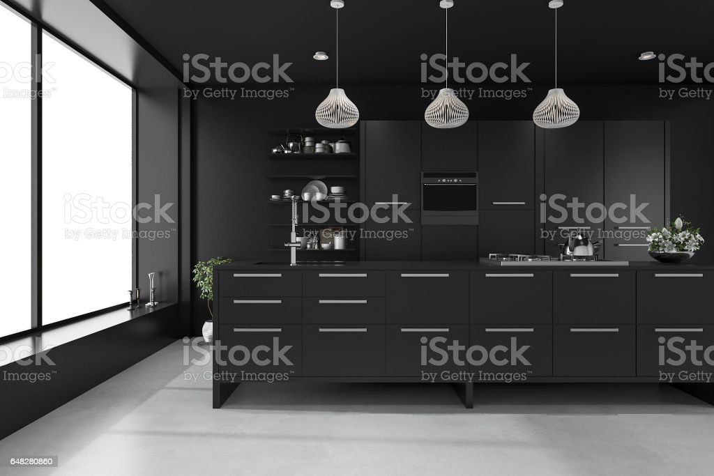 3d rendering black modern luxury kitchen stock photo