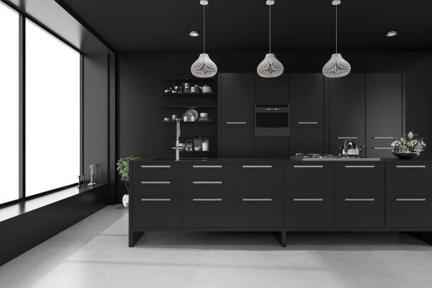 3d rendering black modern luxury kitchen stock photo