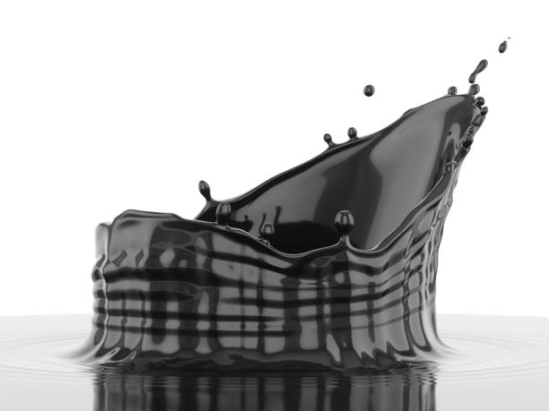 3d Rendering black splash over white background stock photo