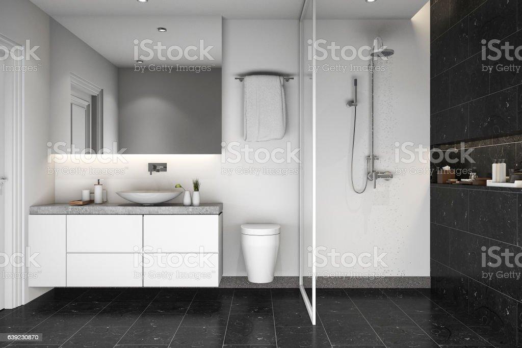 3d rendering black tile shower and bathroom stock photo