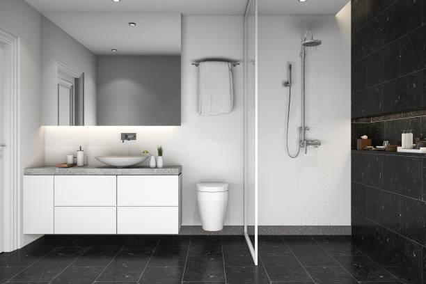 3d rendering black tile shower and bathroom - minimalbadezimmer stock-fotos und bilder