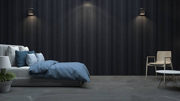 3d rendering black wood wall bedroom with nice light - ruhe grau stock-fotos und bilder