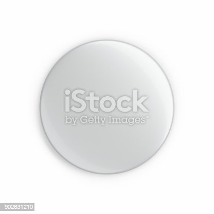 istock 3d rendering Blank button badge isolated on white 902631210
