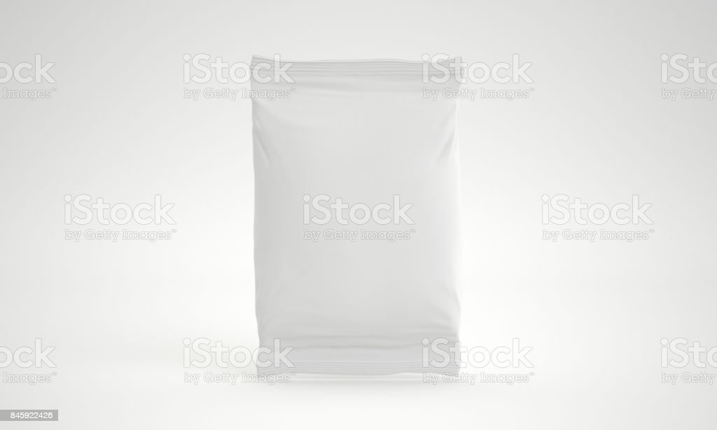 3d rendering blank foil bag packaging for food, snack, coffee, cocoa, sweets, crackers, nuts, chips. Realistic plastic pack mock up isolated on white background stock photo