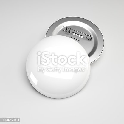 istock 3d rendering. Blank white button badge mockup, front and back side,  Empty clear pin emblem mock up. 845647124