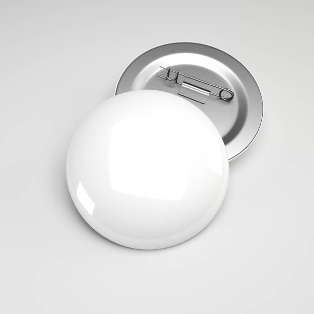 3d rendering. Blank white button badge mockup, front and back side,  Empty clear pin emblem mock up. stock photo