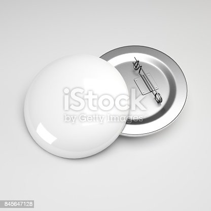 istock 3d rendering. Blank white button badge mockup, front and back side,  Empty clear pin emblem mock up. 845647128