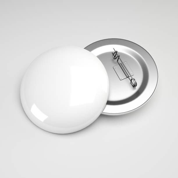 3d rendering. blank white button badge mockup, front and back side,  empty clear pin emblem mock up. - badge logo stock photos and pictures