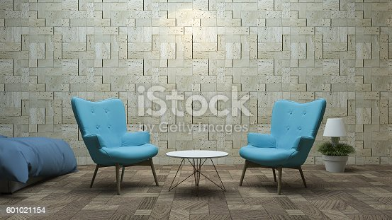 istock 3d rendering blue beautiful design armchair in nice texture room 601021154