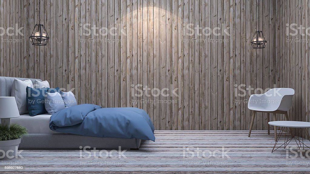 3d rendering blue bed in vintage bedroom with good composition stock photo