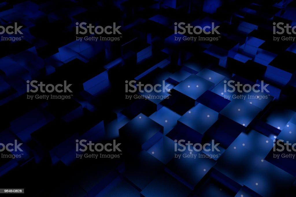 3d rendering, blue cube renderings royalty-free stock photo