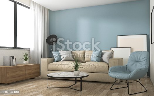 istock 3d rendering blue decoration living room with nice furniture 610137130
