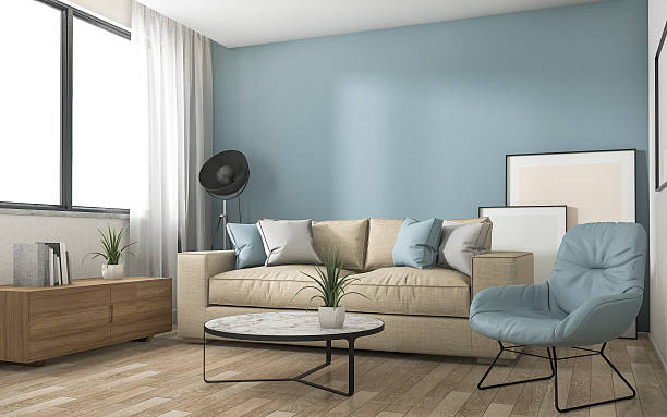 3d rendering blue decoration living room with nice furniture - wandgestaltung farbe stock-fotos und bilder