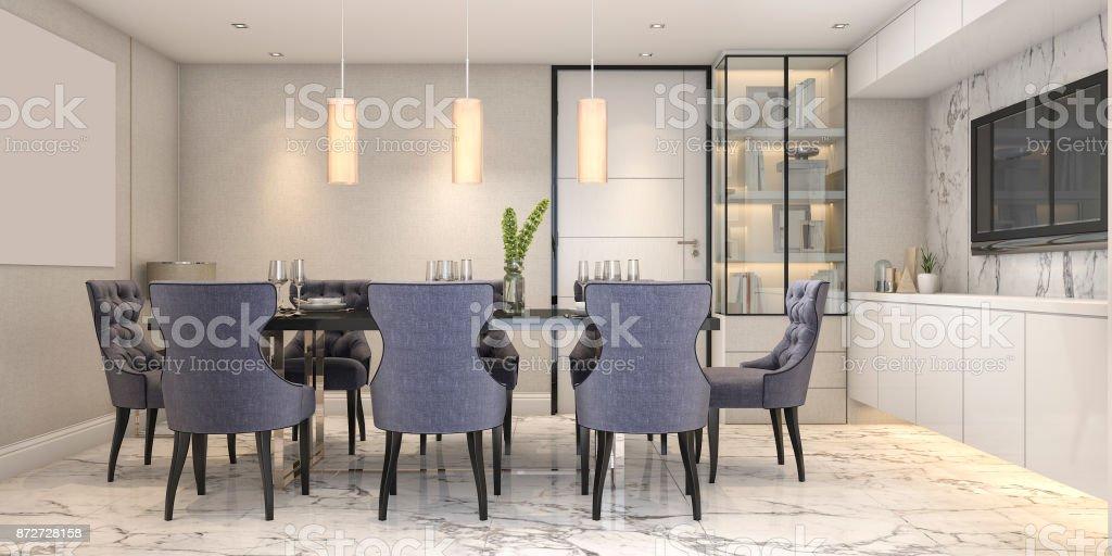 3d Rendering Blau Essset In Modernem Luxus Esszimmer Neben Tur Stock