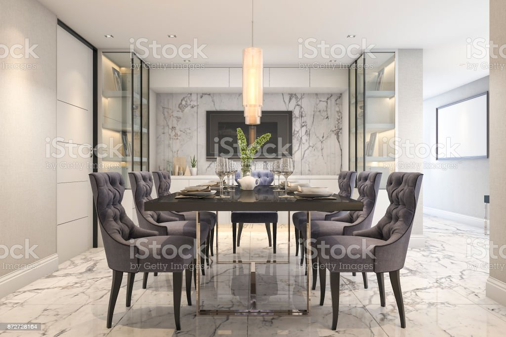 3d Rendering Blue Dining Set In Modern Luxury Dining Room