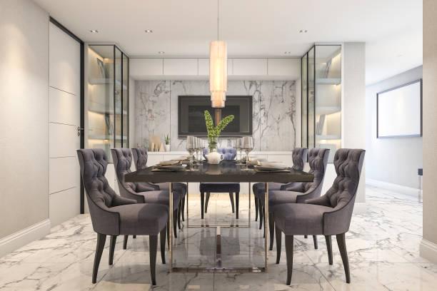 3d rendering blue dining set in modern luxury dining room near door vector art illustration