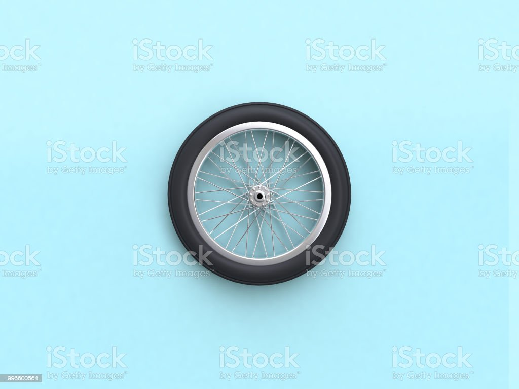 3d rendering blue flat lay scene bike wheel stock photo