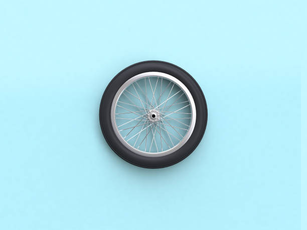 3d rendering blue flat lay scene bike wheel 3d rendering blue flat lay scene bike wheel wheel stock pictures, royalty-free photos & images