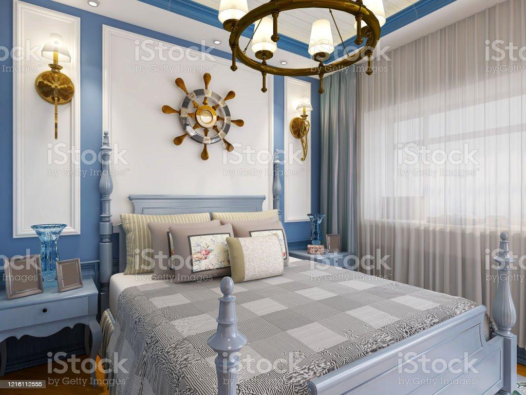 3d Rendering Blue Mediterranean Style Bedroom Design With Bed Wardrobe Etc Stock Photo Download Image Now Istock