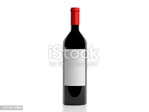 istock 3d rendering bottle of red wine on white background 1014014984