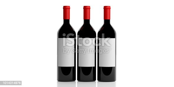 istock 3d rendering bottles of red wine on white background 1014014976
