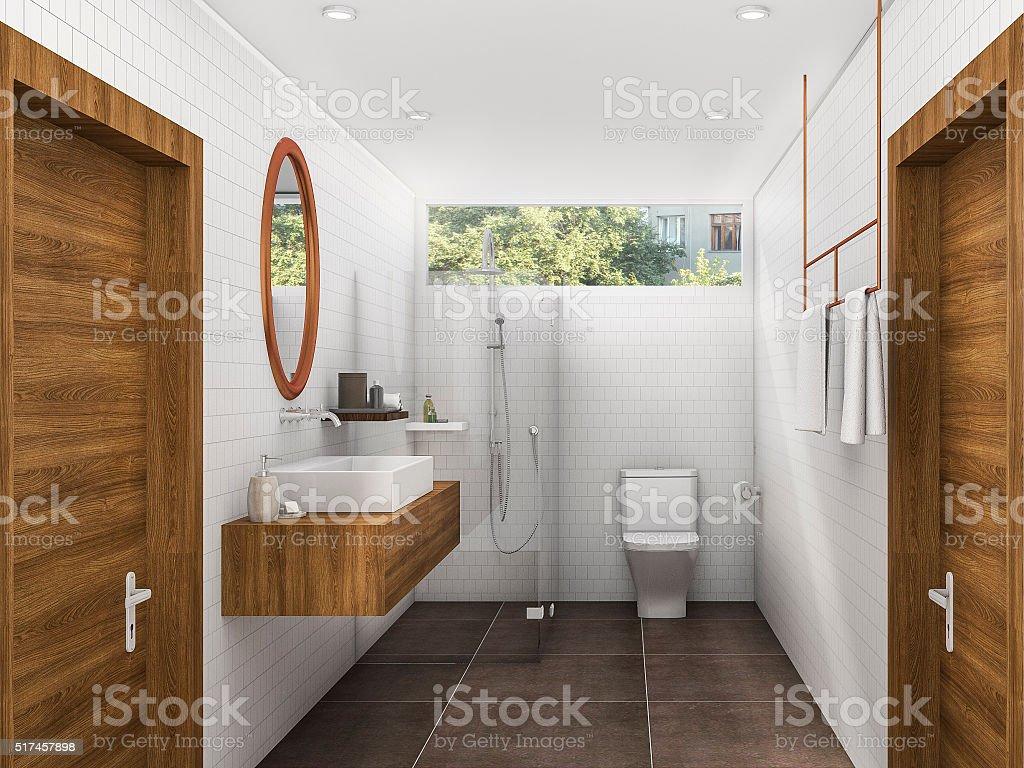 Gut 3 D Abbildung Aus Messing Und Holz Bad Und Toilette Lizenzfreies Stock Foto