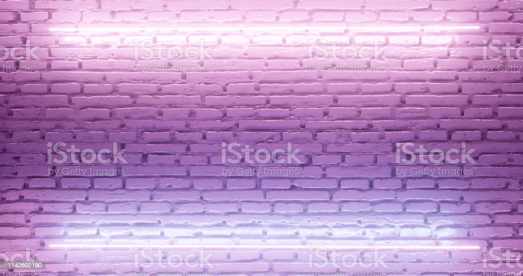 3d rendering. Brick wall illuminated by a pink neon lamp. Abstract...