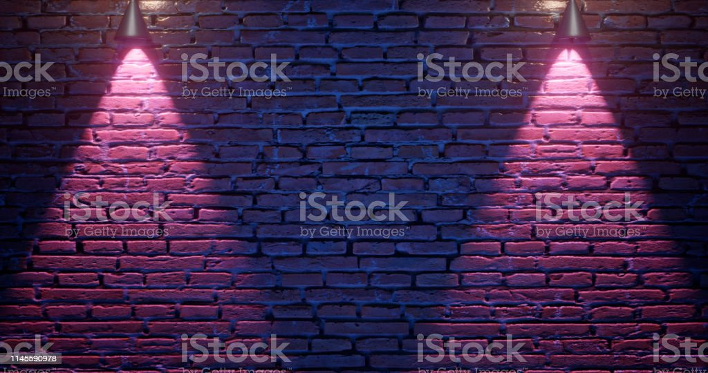 3d rendering. Brick wall illuminated by neon pink light from...