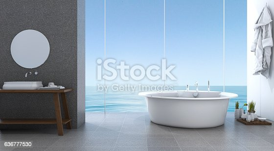 istock 3d rendering bright minimal bathroom near beach 636777530