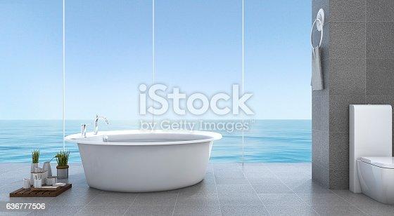 istock 3d rendering bright minimal bathroom near sea 636777506