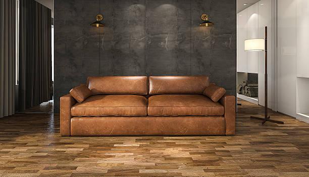 3d-rendering braunem leder-sofa in einem loft wohnzimmer - diy leder stock-fotos und bilder