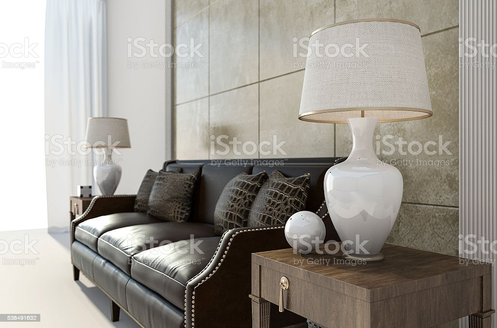 3d rendering brown leather sofa with  lamp in bright room stock photo