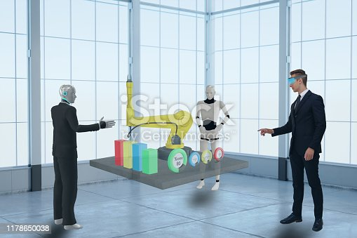 1150202727 istock photo 3d rendering business man using virtual mixed augmented reality and discuss with artificial intelligent robot about data in industry, manufacturing, factory or business to improve efficiency , quality 1178650038