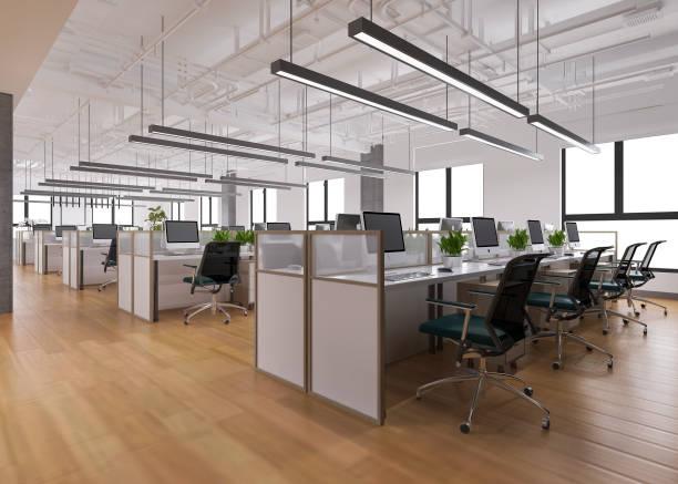 辦公樓3d渲染業務會議和工作間 - 無人 個照片及圖片檔
