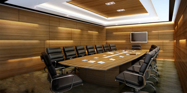 3d rendering business meeting room on high rise office building 3d rendering interior and exterior design board room stock pictures, royalty-free photos & images