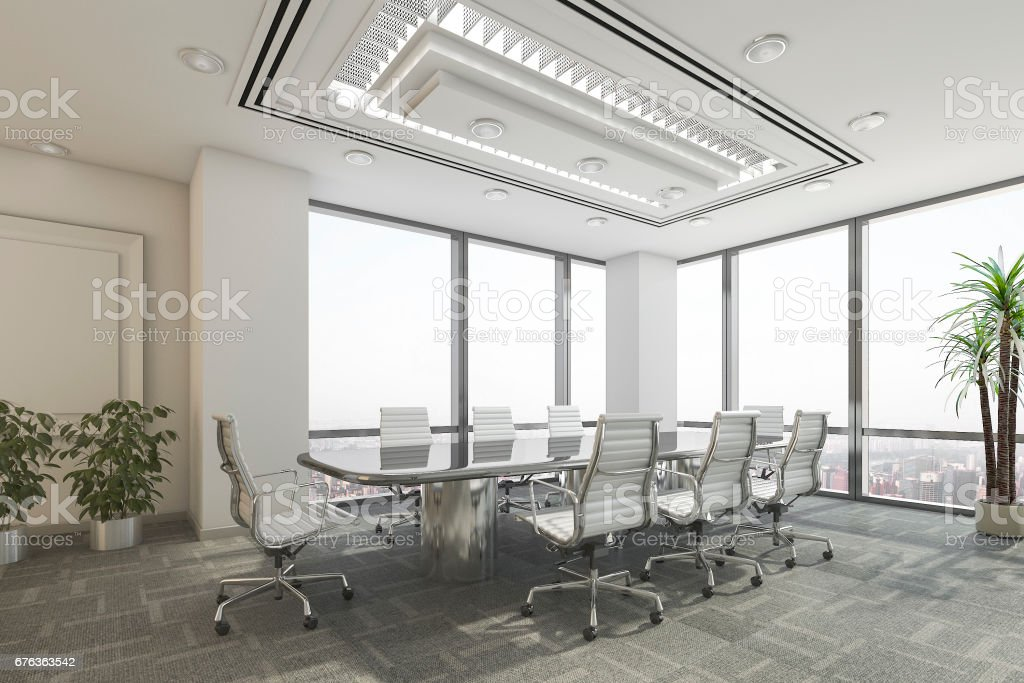 3d rendering business meeting room on office building stock photo