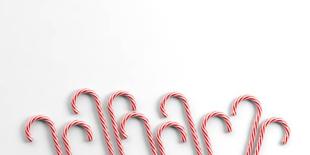 3d rendering candy canes 3d rendering candy canes on white background sugar cane stock pictures, royalty-free photos & images