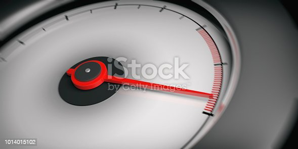 3d rendering white empty car speedometer close up