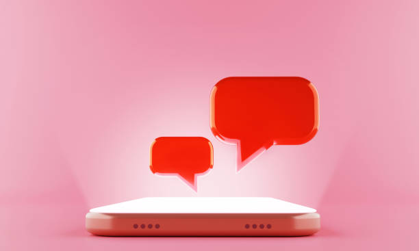 3d rendering Chat speech bubble display floating on the shining screen Smartphone. 3d rendering Chat speech bubble display floating on the shining screen Smartphone. conference phone stock pictures, royalty-free photos & images