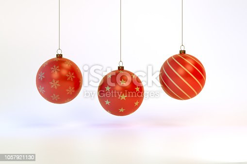 istock 3d rendering Christmas ball background 1057921130