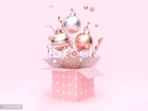istock 3d rendering christmas ball floating gift box opening pink background 1043435090