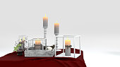 3d rendering christmas decor candle