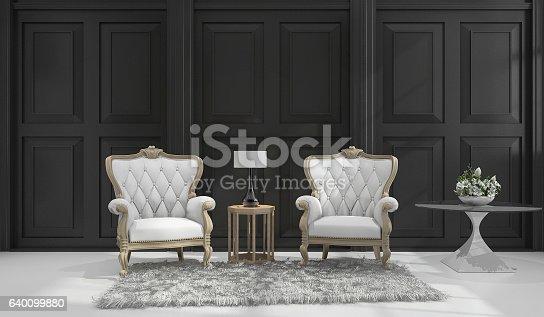 istock 3d rendering classic armchair in black classic room 640099880