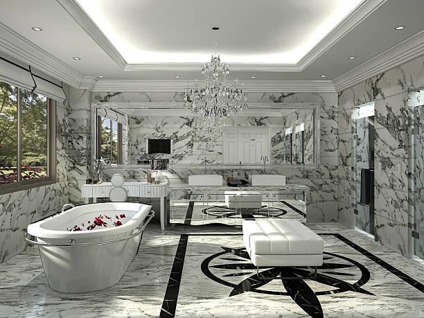 3d rendering classic bathroom with nice marble decoration - badewannenkissen stock-fotos und bilder